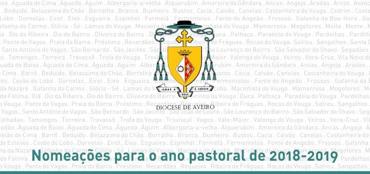 Nomeações para o ano pastoral de 2018-2019