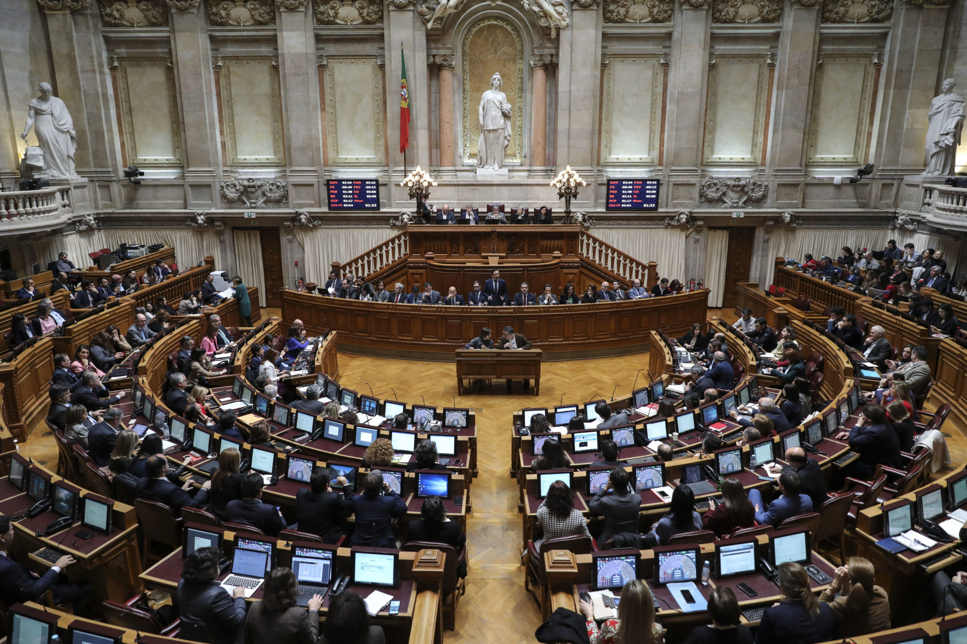 Debate parlamentar em dia da votação final global do Orçamento do Estado para 2020 na Assembleia da República em Lisboa, 6 de fevereiro de 2020. MIGUEL A. LOPES/LUSA