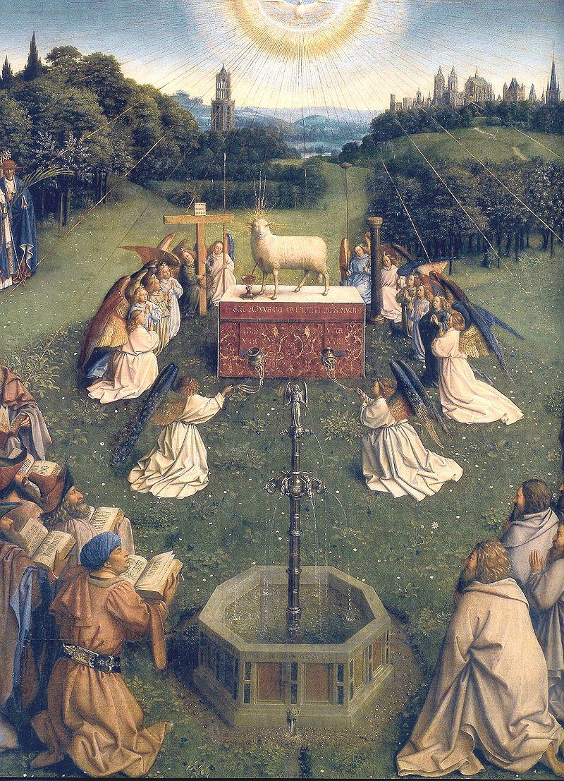800px-Ghent_Altarpiece_D_-_Adoration_of_the_Lamb_2