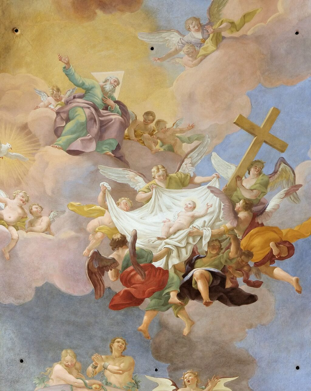 Detail - Glory of the New Born Christ in presence of God Father and the Holy Spirit (Annakirche, Vienna)